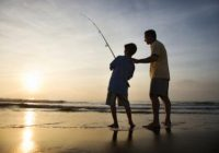Boy and father fishing